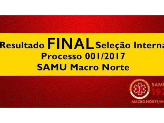Resultado Final seleção interna para estágio supervisionado SAMU Macro Norte